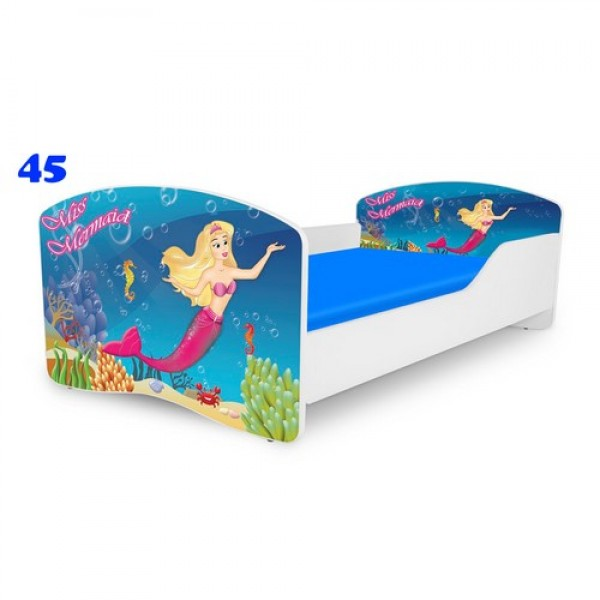 NOBIKO Pusaudžu gulta 140-180 cm un porolona matracis Rainbow Fairy tales