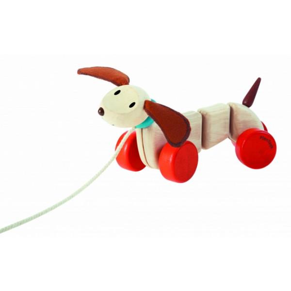 PlanToys 5101 velkamā koka rotaļlieta Laimīgs kucēns