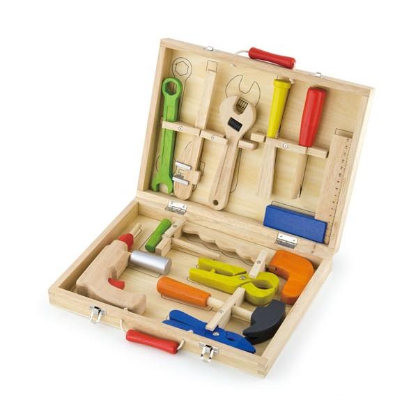 VIGA TOYS medinė meistro įrankių dėžė 12 el