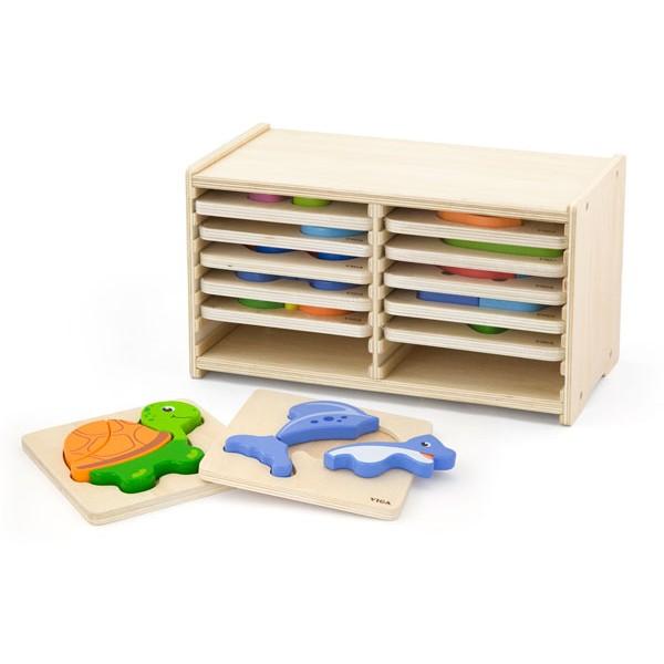 Viga Toys medinės kaladėlės - dėlionė