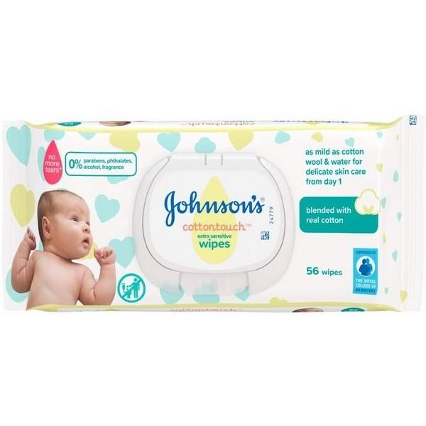Johnson Cottontouch Mitrās salvetes zīdaiņiem 56 gab.