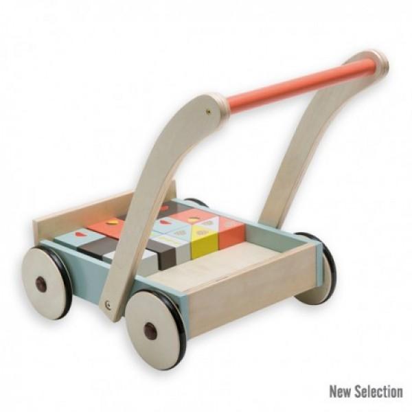 Andreu toys stumjamas rotaļlietas - ratiņi ar kubiņiem Lapsa