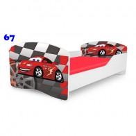 NOBIKO Pusaudžu gulta 140-180 cm un porolona matracis Rainbow Cars