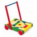 VIGA TOYS Toys medinis vežimėlis su kaladėlėmis